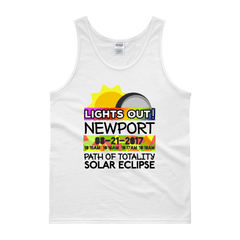 "Men's - Newport - Solar Eclipse Tank Top: ""Lights Out!"" PATH of TOTALITY 08-21-2017 w Actual Times"