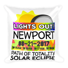Solar Eclipse Throw Pillow: NEWPORT OR PATH of TOTALITY August 21, 2017