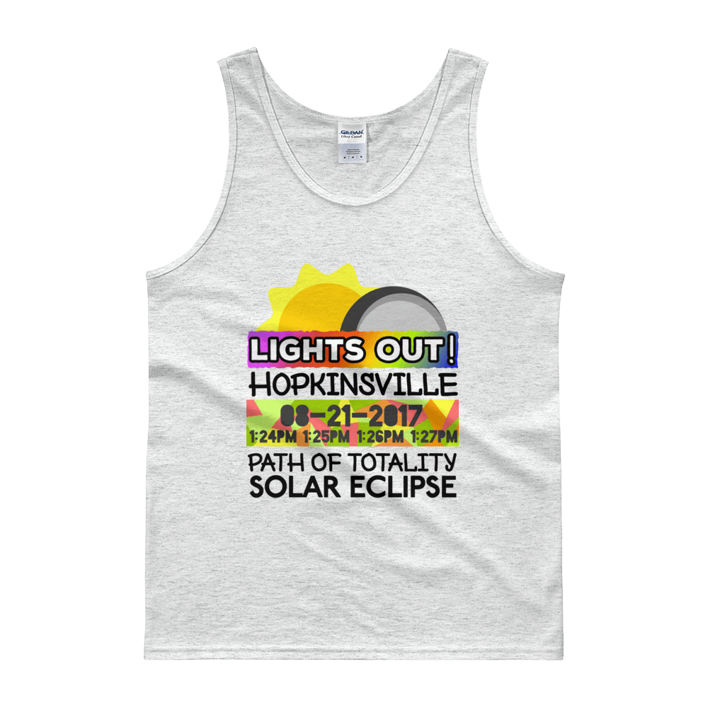 "Men's - Hopkinsville KY - Solar Eclipse Tank Top: ""Lights Out!"" PATH of TOTALITY 08-21-2017 w Actual Times"