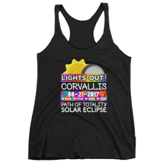 "Women's - Corvallis OR - Solar Eclipse Tank Top: ""Lights Out!"" PATH of TOTALITY 08-21-2017 w Actual Times"