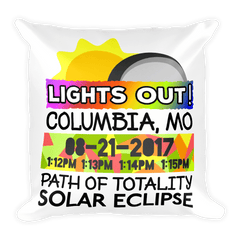 Solar Eclipse Throw Pillow: COLUMBIA MO PATH of TOTALITY August 21, 2017