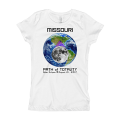 Girls Solar Eclipse Short Sleeve T-Shirt - Missouri - Earth/Moon - Path of Totality August 21, 2017