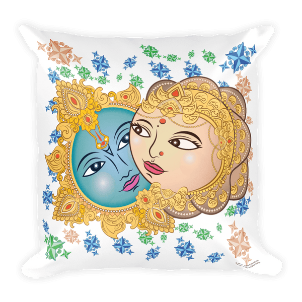 Solar Eclipse Throw Pillow - Krishna & Radha - Path of Totality August 21, 2017
