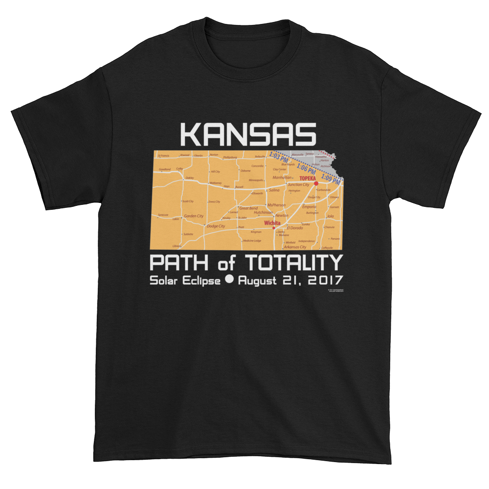 Men's Solar Eclipse Short Sleeve T-Shirt - Kansas - Path of Totality August 21, 2017