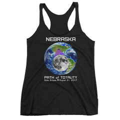 Women's Solar Eclipse Tank Top - Nebraska - Earth/Moon - Path of Totality August 21, 2017