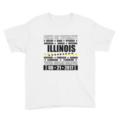 "Boys' Short Sleeve T-Shirt: ""Illinois"" PATH of TOTALITY Total Solar Eclipse 08-21-2017"