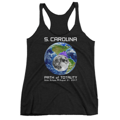 Women's Solar Eclipse Tank Top - S. Carolina - Earth/Moon - Path of Totality August 21, 2017