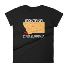 Women's Solar Eclipse Short Sleeve T-Shirt - Montana - Path of Totality August 21, 2017
