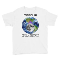 Boys' Solar Eclipse Short Sleeve T-Shirt - Missouri - Earth/Moon - Path of Totality August 21, 2017