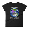 Women's Solar Eclipse Short Sleeve T-Shirt - Oregon - Earth/Moon - Path of Totality August 21, 2017