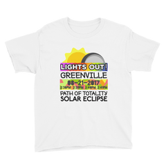 "Boys - Greenville SC - Solar Eclipse Short Sleeve T-Shirt: ""Lights Out!"" PATH of TOTALITY 08-21-2017 w Actual Times"