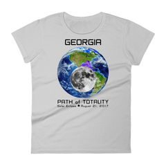 Women's Solar Eclipse Short Sleeve T-Shirt - Georgia - Earth/Moon - Path of Totality August 21, 2017