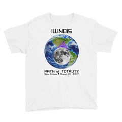 Boys' Solar Eclipse Short Sleeve T-Shirt - Illinois - Earth/Moon - Path of Totality August 21, 2017