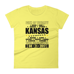 "Women's Short Sleeve T-Shirt: ""Kansas"" PATH of TOTALITY Total Solar Eclipse 08-21-2017"