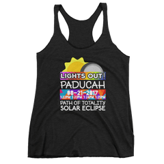 "Women's - Paducah KY - Solar Eclipse Tank Top: ""Lights Out!"" PATH of TOTALITY 08-21-2017 w Actual Times"