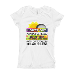 "Girls - Kansas City MO - Solar Eclipse Short Sleeve T-Shirt: ""Lights Out!"" PATH of TOTALITY 08-21-2017 w Actual Times"