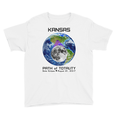 Boys' Solar Eclipse Short Sleeve T-Shirt - Kansas - Earth/Moon - Path of Totality August 21, 2017