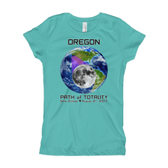 Girls Solar Eclipse Short Sleeve T-Shirt - Oregon - Earth/Moon - Path of Totality August 21, 2017