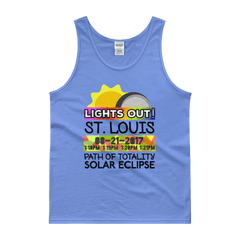 "Men's - St. Louis MO - Solar Eclipse Tank Top: ""Lights Out!"" PATH of TOTALITY 08-21-2017 w Actual Times"