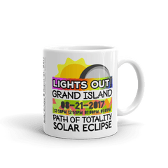 "Solar Eclipse Mug: ""Grand Island NE"" PATH of TOTALITY August 21, 2017 (Made in USA)"