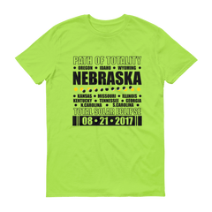 "Men's Short Sleeve T-Shirt: ""Nebraska"" PATH of TOTALITY Total Solar Eclipse 08-21-2017"