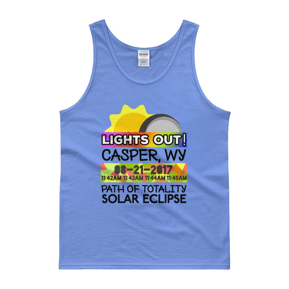 "Men's - Casper WY - Solar Eclipse Tank Top: ""Lights Out!"" PATH of TOTALITY 08-21-2017 w Actual Times"