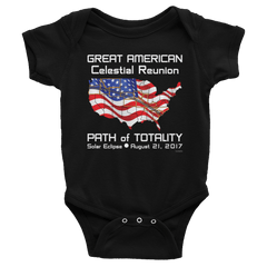 Baby/Infant Solar Eclipse Onesies-Bodysuit - FLAG - Great American Celestial Reunion Path of Totality August 21, 2017
