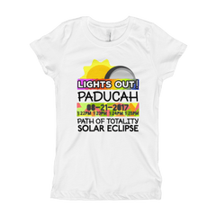 "Girls - Paducah KY - Solar Eclipse Short Sleeve T-Shirt: ""Lights Out!"" PATH of TOTALITY 08-21-2017 w Actual Times"