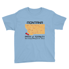Boys Solar Eclipse Short Sleeve T-Shirt - Montana - Path of Totality August 21, 2017