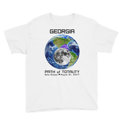 Boys' Solar Eclipse Short Sleeve T-Shirt - Georgia - Earth/Moon - Path of Totality August 21, 2017