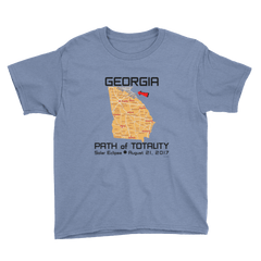 Boys Solar Eclipse Short Sleeve T-Shirt - Georgia - Path of Totality August 21, 2017