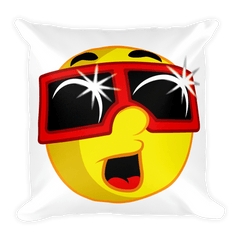 Solar Eclipse Throw Pillow - EMOJI w ECLIPSE GLASSES - Path of Totality August 21, 2017