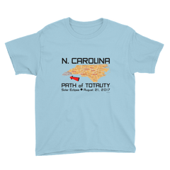 Boys Solar Eclipse Short Sleeve T-Shirt - North Carolina - Path of Totality August 21, 2017