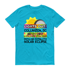 "Men's - Columbia SC - Solar Eclipse Short Sleeve T-Shirt: ""Lights Out!"" PATH of TOTALITY 08-21-2017 w Actual Times"