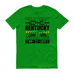 "Men's Short Sleeve T-Shirt: ""Kentucky"" PATH of TOTALITY Total Solar Eclipse 08-21-2017"