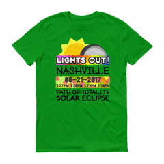 "Men's - Nashville TN - Solar Eclipse Short Sleeve T-Shirt: ""Lights Out!"" PATH of TOTALITY 08-21-2017 w Actual Times"