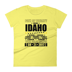 "Women's Short Sleeve T-Shirt: ""Idaho"" PATH of TOTALITY Total Solar Eclipse 08-21-2017"
