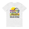 "Men's - Albany OR - Solar Eclipse Short Sleeve T-Shirt: ""Lights Out!"" PATH of TOTALITY 08-21-2017 w Actual Times"