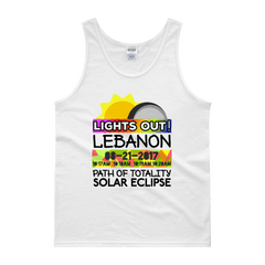 "Men's - Lebanon OR - Solar Eclipse Tank Top: ""Lights Out!"" PATH of TOTALITY 08-21-2017 w Actual Times"