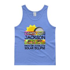 "Men's - Jackson WY - Solar Eclipse Tank Top: ""Lights Out!"" PATH of TOTALITY 08-21-2017 w Actual Times"