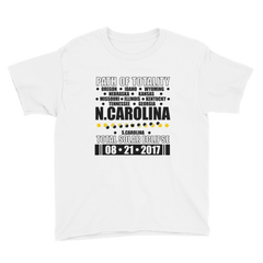 "Boys' Short Sleeve T-Shirt: ""N.Carolina"" PATH of TOTALITY Total Solar Eclipse 08-21-2017"