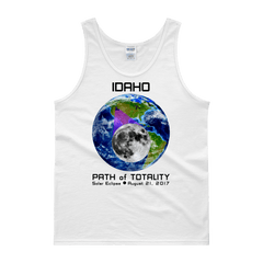 Men's Solar Eclipse Tank Top- Idaho - Earth/Moon - Path of Totality August 21, 2017
