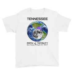 Boys' Solar Eclipse Short Sleeve T-Shirt - Tennessee- Earth/Moon - Path of Totality August 21, 2017