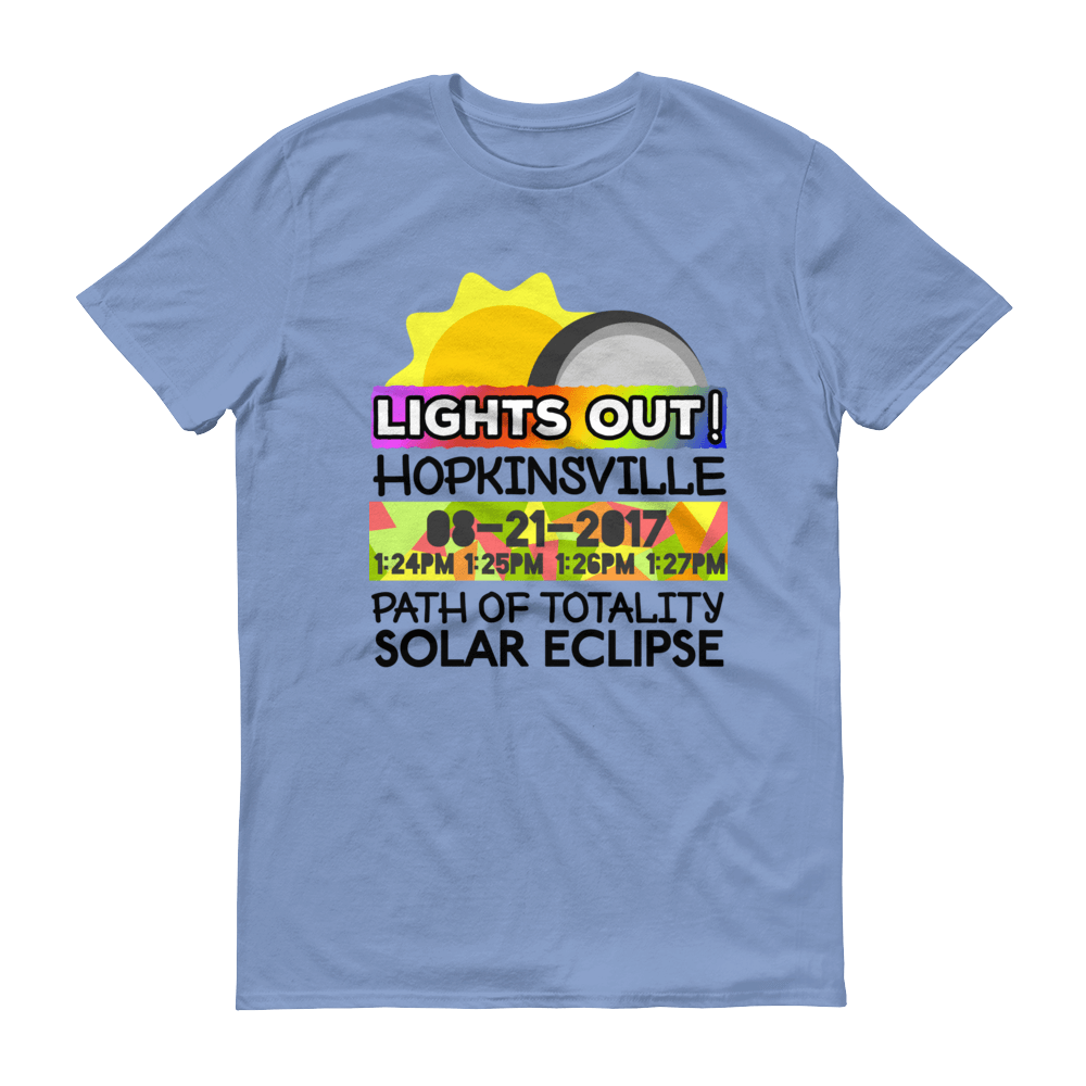 "Men's - Hopkinsville KY - Solar Eclipse Short Sleeve T-Shirt: ""Lights Out!"" PATH of TOTALITY 08-21-2017 w Actual Times"