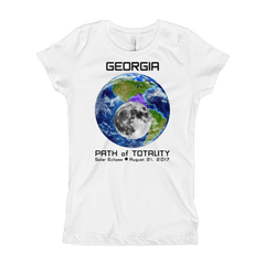 Girls Solar Eclipse Short Sleeve T-Shirt - Georgia - Earth/Moon - Path of Totality August 21, 2017