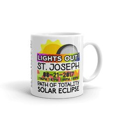 "Solar Eclipse Mug: ""St. Joseph MO"" PATH of TOTALITY August 21, 2017 (Made in USA)"