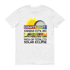 "Solar Eclipse Short Sleeve T-Shirt - Men's - Kansas City MO : ""Lights Out!"" PATH of TOTALITY 08-21-2017 w Actual Times"