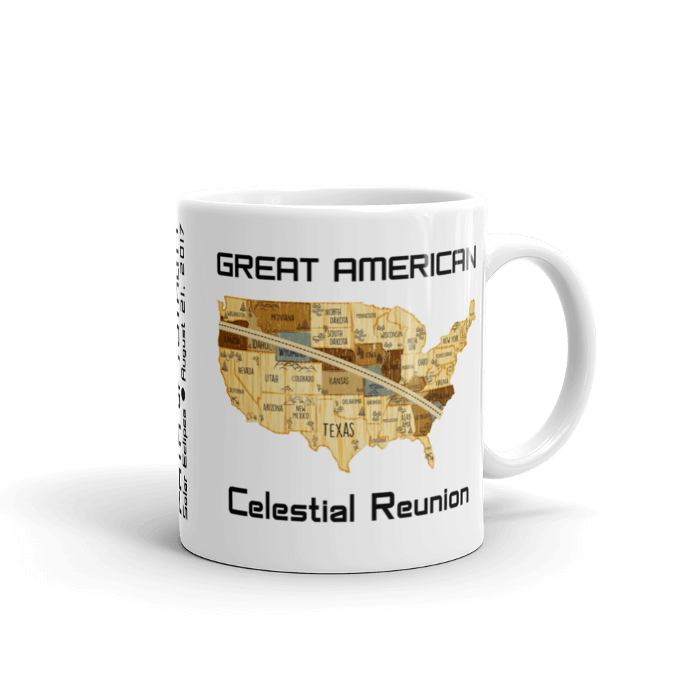 "Solar Eclipse Mug: ""USA10 WOOD"" PATH of TOTALITY Great American Celestial Reunion August 21, 2017 (Made in USA)"