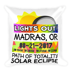 Solar Eclipse Throw Pillow: MADRAS OR PATH of TOTALITY August 21, 2017