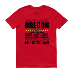 "Men's Short Sleeve T-Shirt: ""Oregon"" PATH of TOTALITY Total Solar Eclipse 08-21-2017"